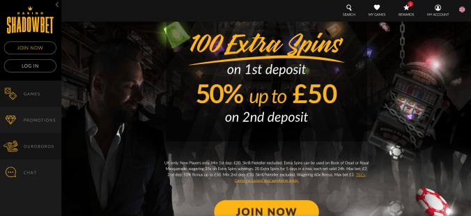 Välj casino bonus Shadowbet sexigt